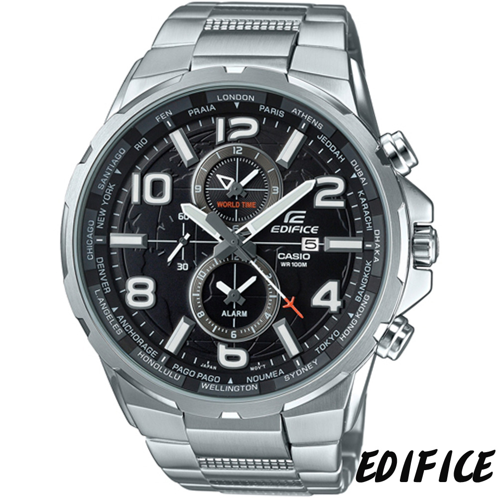 EDIFICE 世界地圖風計時腕錶(EFR-302D-1A)-黑/50.6mm