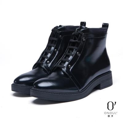 達芙妮x高圓圓-圓漾系列-短靴-雙領綁帶低跟短靴-黑8H