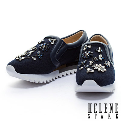休閒鞋-HELENE-SPARK-花朵圖騰縫鑽毛呢布厚底休閒鞋-藍