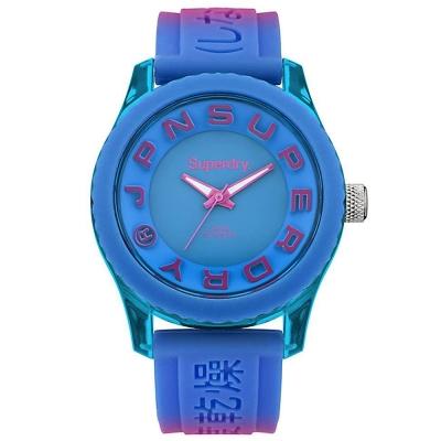Superdry極度乾燥Tokyo休閒潮流時尚手錶-藍X桃/38mm
