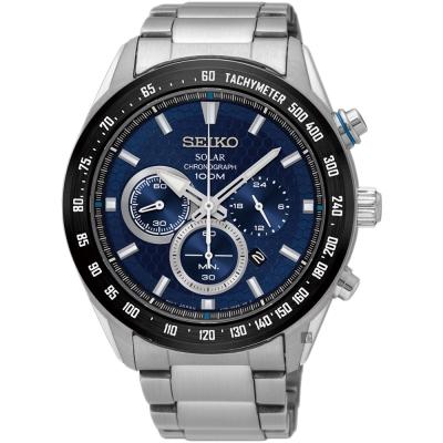 SEIKO精工 Criteria 太陽能計時手錶(SSC585P1)-藍/43mm