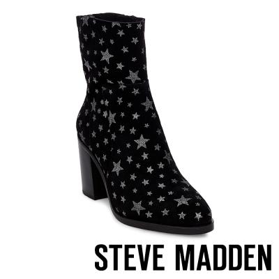 STEVE MADDEN-REWARD 麂皮星星粗跟短靴-黑色