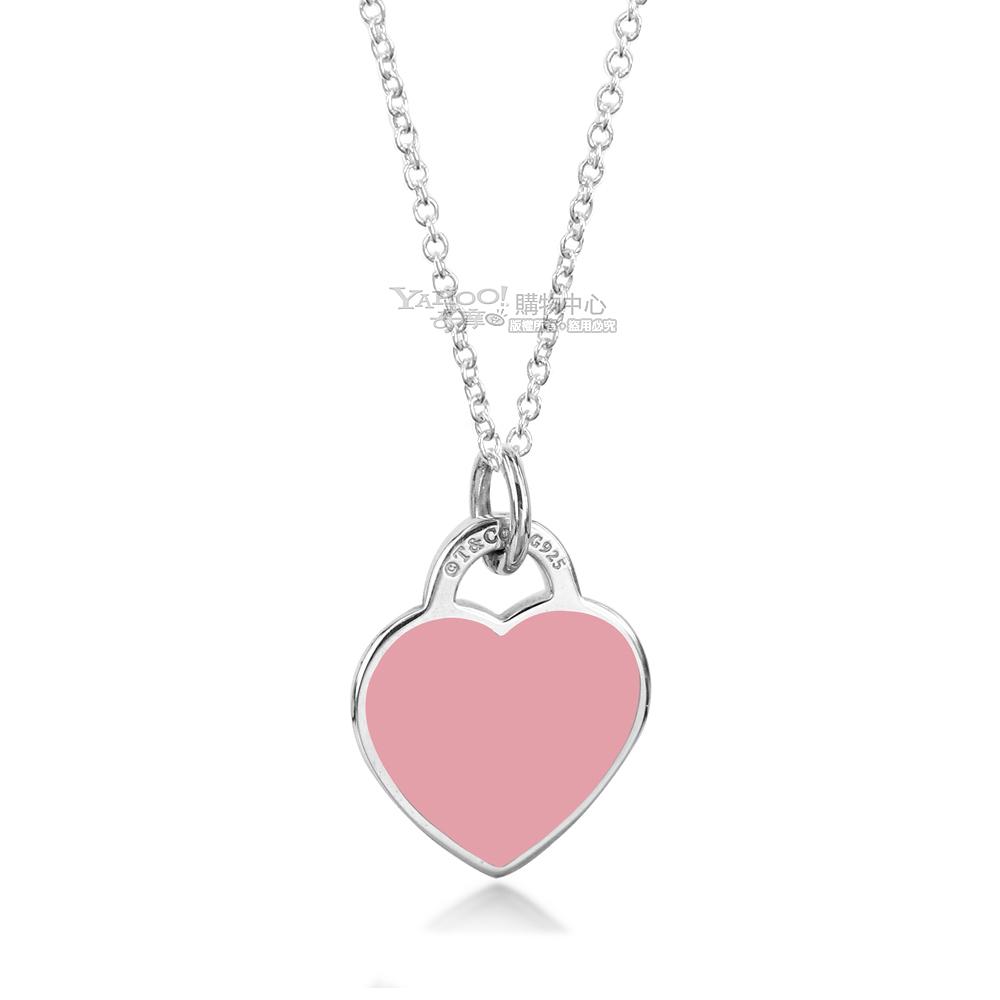 Tiffany&Co. 粉紅愛心琺瑯925純銀項鍊 @ Y!購物