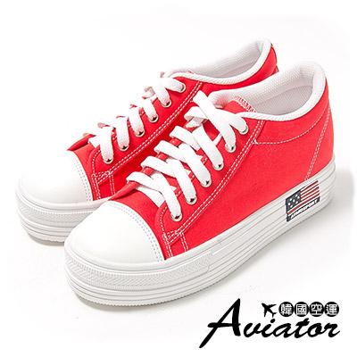 Aviator*韓國空運。正韓製經典帆布美國國旗休閒厚底鞋-紅