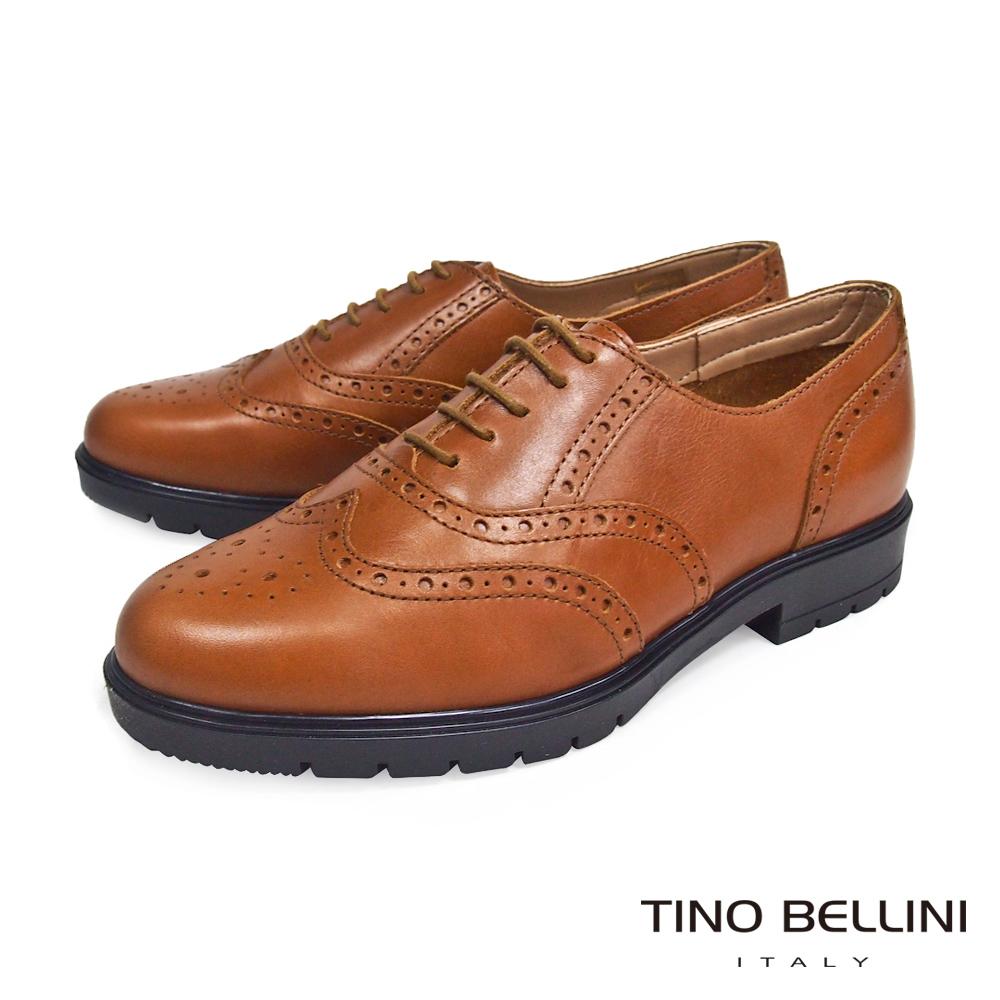 Tino Bellini 義大利學院真皮雕花厚底牛津鞋_棕