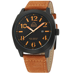 Kappa 復古玩色經典時尚腕錶-黑/47mm