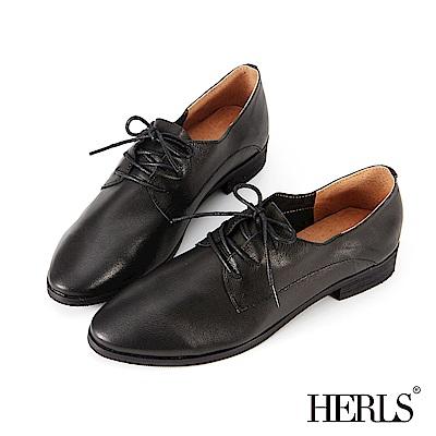 HERLS 柔軟全真皮 舒適素面德比牛津鞋-黑色