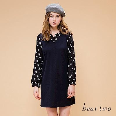 beartwo 星星閃耀拼接雪紡袖合身洋裝(深藍)