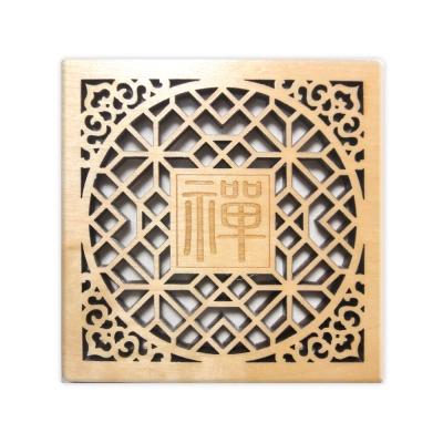 T-Collection - 古典花窗格 楓木 客製化 雕刻杯墊【禪】- 雙入