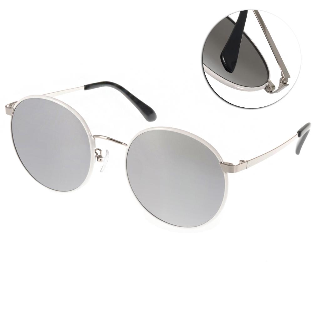 Go-Getter太陽眼鏡 潮流圓框/白-白水銀#GS0005 C04