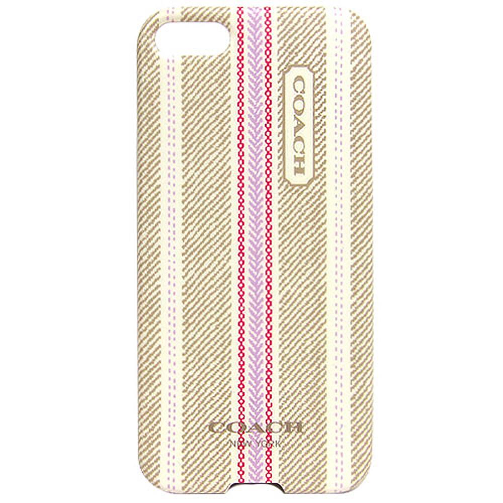 COACH 民俗風直紋iPhone5手機保護殼(卡其粉)COACH