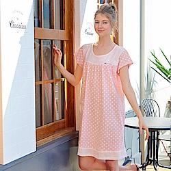 睡衣 點點精梳棉柔針織短袖連身睡衣(R75018-2夢幻粉) 蕾妮塔塔