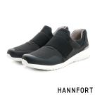 HANNFORT RS8網布套入式氣墊休閒鞋-男-都會黑