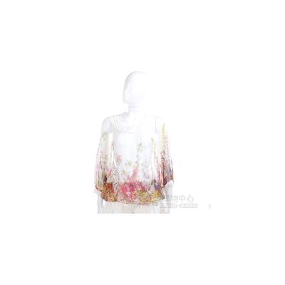 PAOLA FRANI 白色花朵彩繪雪紡七分袖上衣