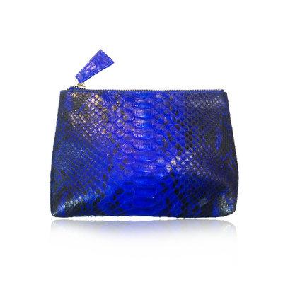 ACUBY 限量單品手工蛇皮手拿包/孔雀藍