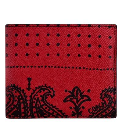 COACH-紅色印花圖樣PVC雙摺中夾-附可拆名片