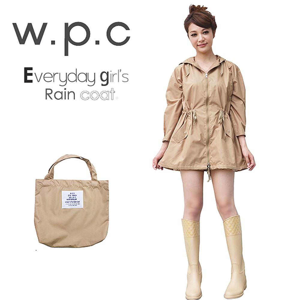 【w.p.c.】腰抽繩九分袖。時尚雨衣/風衣(R1013)_卡其
