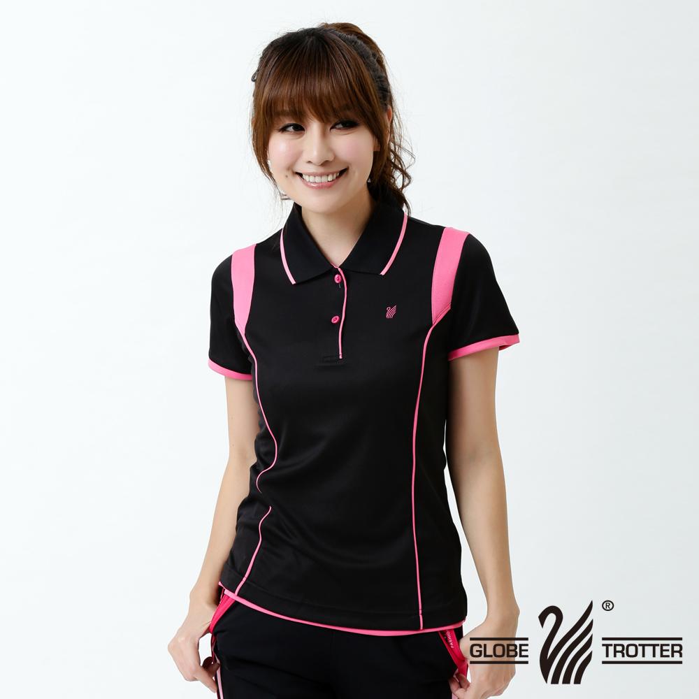 【遊遍天下】MIT女款顯瘦抗UV吸濕排汗機能POLO衫S127黑/粉