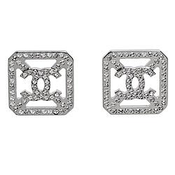 CHANEL 香奈兒經典CC LOGO水鑽鑲嵌方形簍空造型穿式耳環(亮銀)