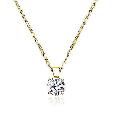 Crislu 圓形單顆鋯石金項鍊