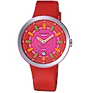 PASNEW 果凍系列 彩色指針休閒錶-紅/41mm