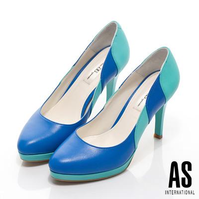 AS-異材質拼接羊皮高跟鞋-藍