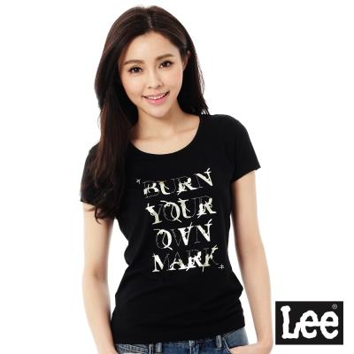 Lee 文字印刷短袖T恤101+-女-黑