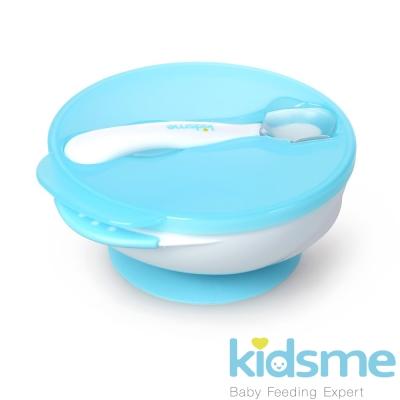 任-英國kidsme-寶寶練習吸盤碗+感溫變色湯匙-藍