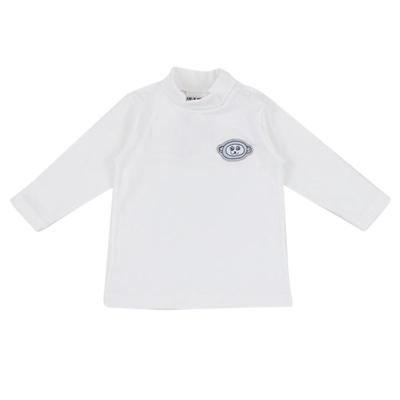 愛的世界 彈性立領肩扣長袖上衣-白/6個月~4歲