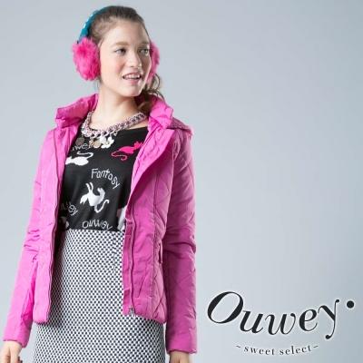 OUWEY歐薇-亮彩連帽舖棉外套-共2色