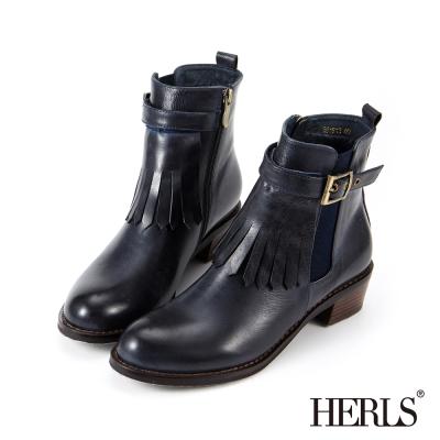 HERLS 外真皮 兩穿釦環流蘇造型粗跟短靴-藍黑色