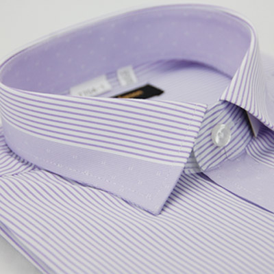 【金安德森】紫色變化領細紋窄版短袖襯衫
