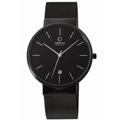 OBAKU 純粹經典三針日期時尚米蘭腕錶-黑/40mm
