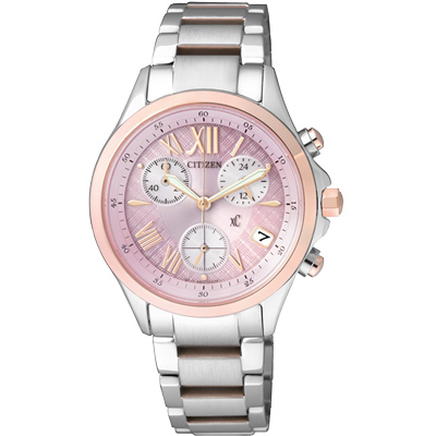 CITIZEN xC 光動能輕盈舞步計時腕錶(FB1404-69W)-粉x玫瑰金/32mm