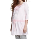 ohoh-mini孕婦裝 超顯瘦假兩件條紋長版成套睡衣