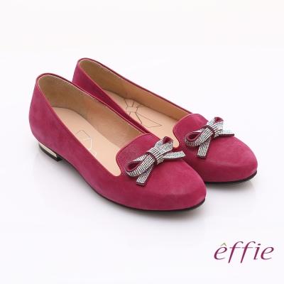 effie 輕透美型 閃耀羊皮亮鑽蝴蝶平底鞋 桃