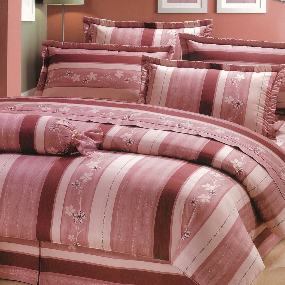 eyah宜雅 全程台灣製100%精梳純棉雙人特大床罩兩用被全舖棉五件組 粉紅物語