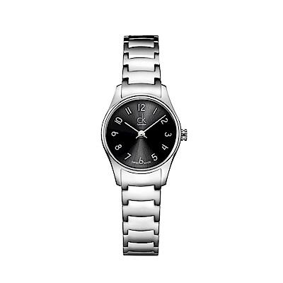 CK CALVIN KLEIN Classic 經典系列黑色數字面羅馬面盤女錶-24mm