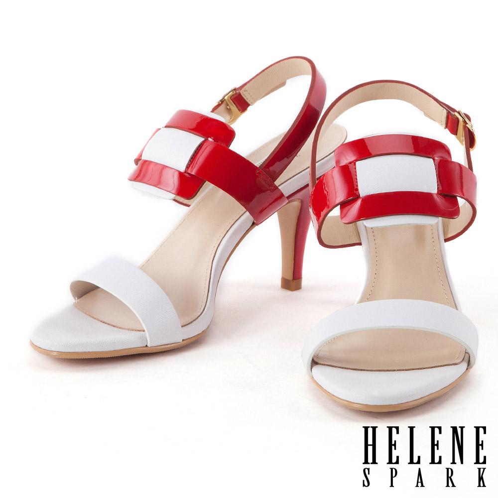 涼鞋 HELENE SPARK 海軍風異材質拼接撞色高跟涼鞋-紅