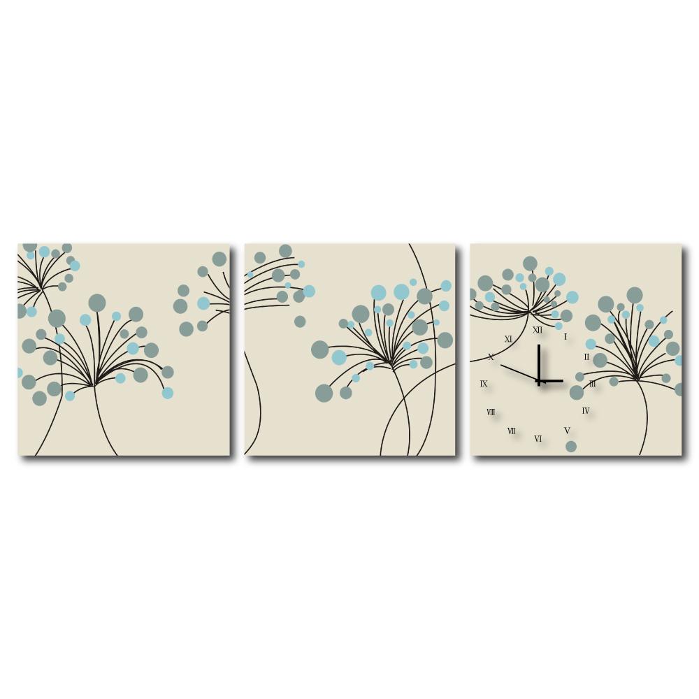 24mama掛畫 - 三聯式流行家飾無框藝術掛畫時鐘-藍果實小森林-30x30cm