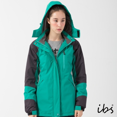 ibs戶外休閒色塊拼接機能外套-綠/淺灰-女