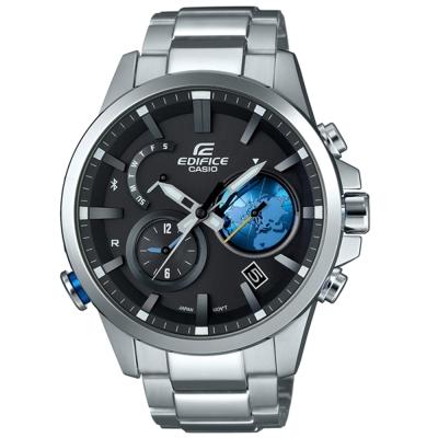 EDIFICE地球錶盤3D設計藍牙傳輸賽車錶(EQB-600D-1A2)銀X藍47.3mm