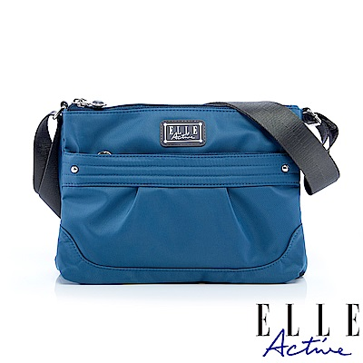 ELLE Active 優雅隨行系列-多夾層側背包/斜背包-藍灰色