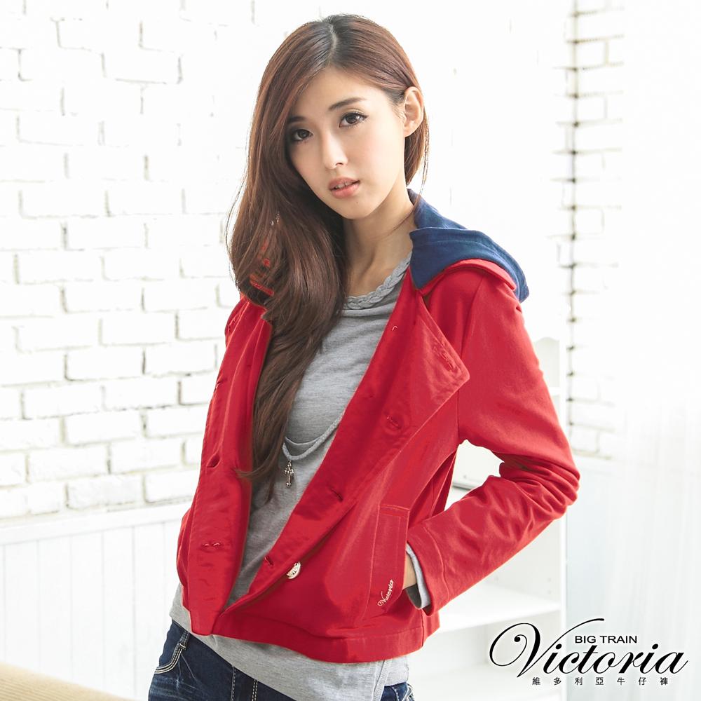 Victoria 可拆帽針織外套-女-紅色