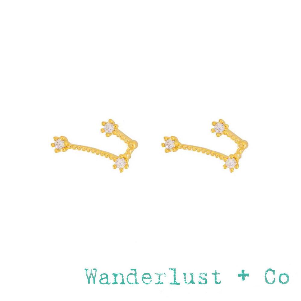 Wanderlust+Co 澳洲品牌 金牛座耳環 金色鑲鑽耳環 TAURUS