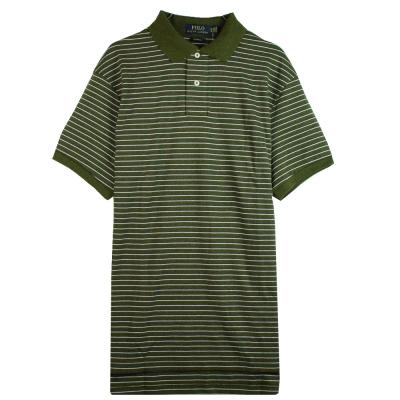 Ralph Lauren 棉質純條紋POLO衫(墨綠)