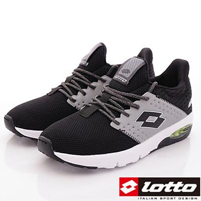 Lotto樂得-乳膠避震跑鞋款-FI060黑男段