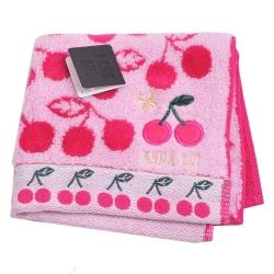 ANNA SUI 可愛櫻桃刺繡貼布LOGO刺繡小方巾(桃紅)