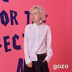 gozo 簡約不規則特殊刺繡設計襯衫 (二色)