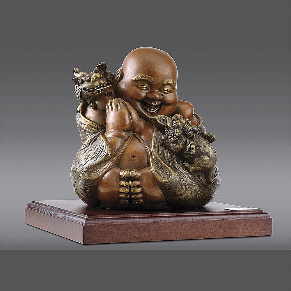 羅廣維 福慧雙修貔貅 彌勒佛 銅雕